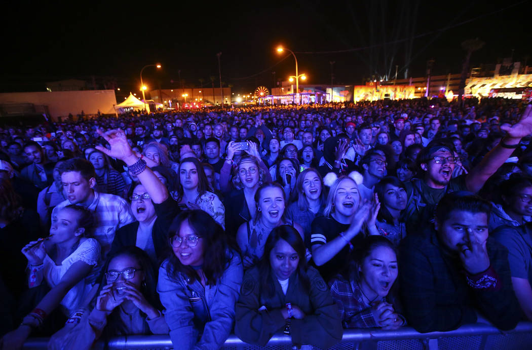 Fans react as Local Natives perform at the Huntridge stage during the second day of the Life is Beautiful festival in downtown Las Vegas on Saturday, Sept. 23, 2017. Chase Stevens Las Vegas Review ...