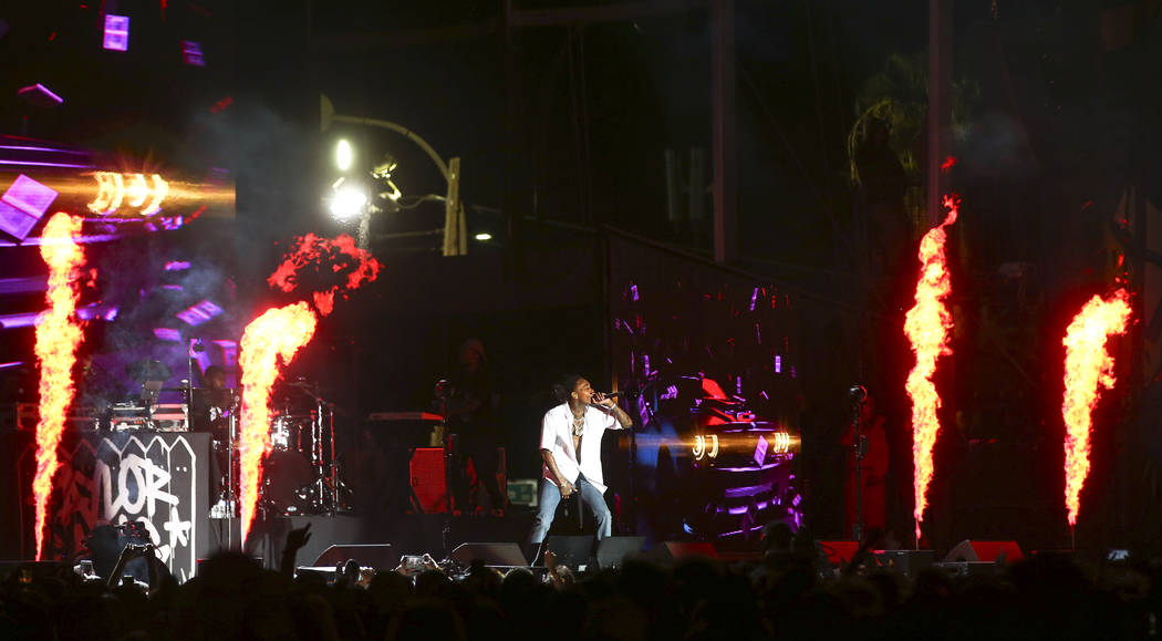 Wiz Khalifa performs at the Ambassador stage during the second day of the Life is Beautiful festival in downtown Las Vegas on Sunday, Sept. 24, 2017. Chase Stevens Las Vegas Review-Journal @csstev ...