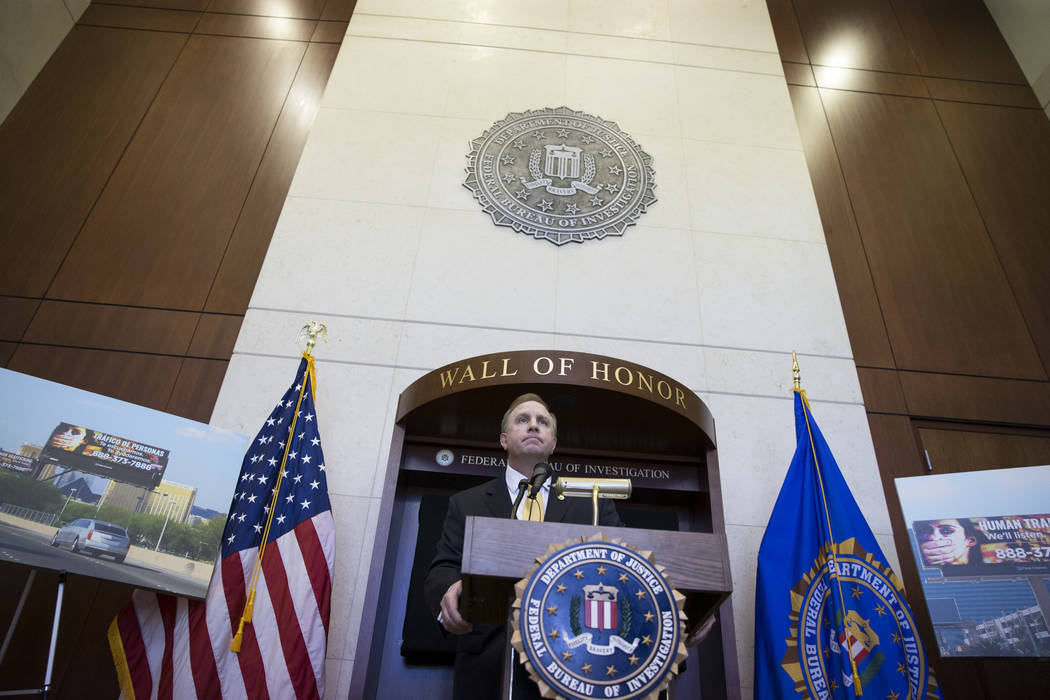 Aaron C. Rouse, special agent in charge for the FBI in Nevada, during a press conference announcing the FBI's joint partnership with Clear Channel Outdoor to increase Human Trafficking Awareness,  ...