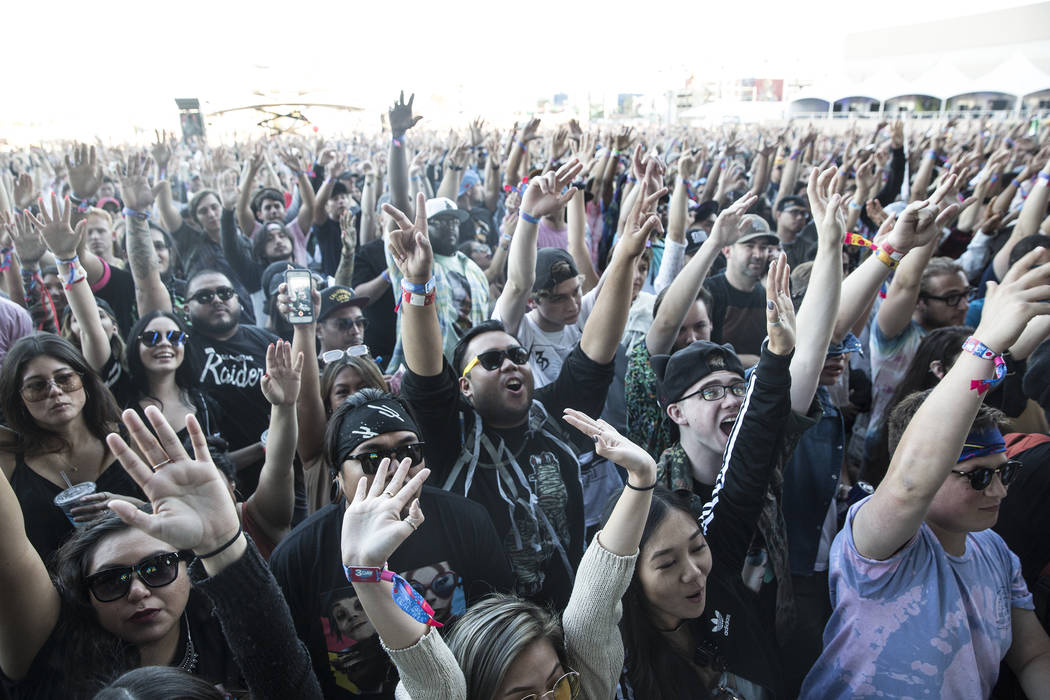 Fans cheer for De La Soul on the Downtown Stage during the final day of the Life is Beautiful music and arts festival on Sunday, September 24, 2017, in Las Vegas. Benjamin Hager Las Vegas Review-J ...