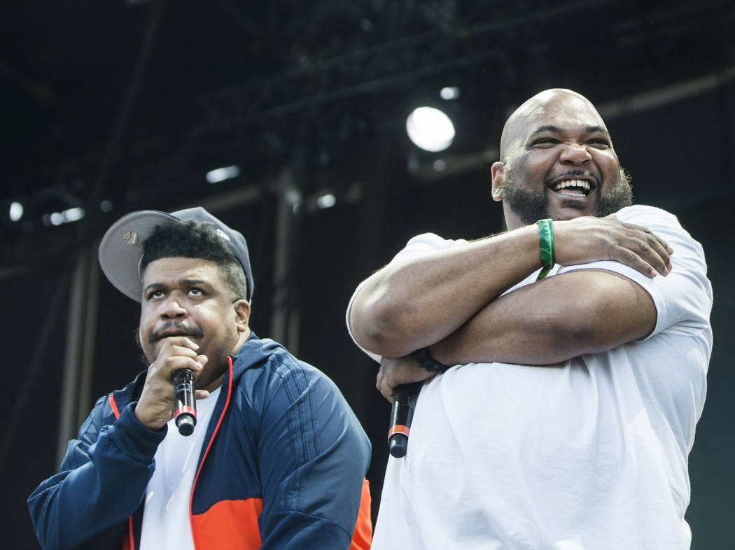 De La Soul's David Jude Jolicoeur, left, and Vincent Mason perform on the Downtown Stage during the final day of the Life is Beautiful music and arts festival on Sunday, September 24, 2017, in Las ...
