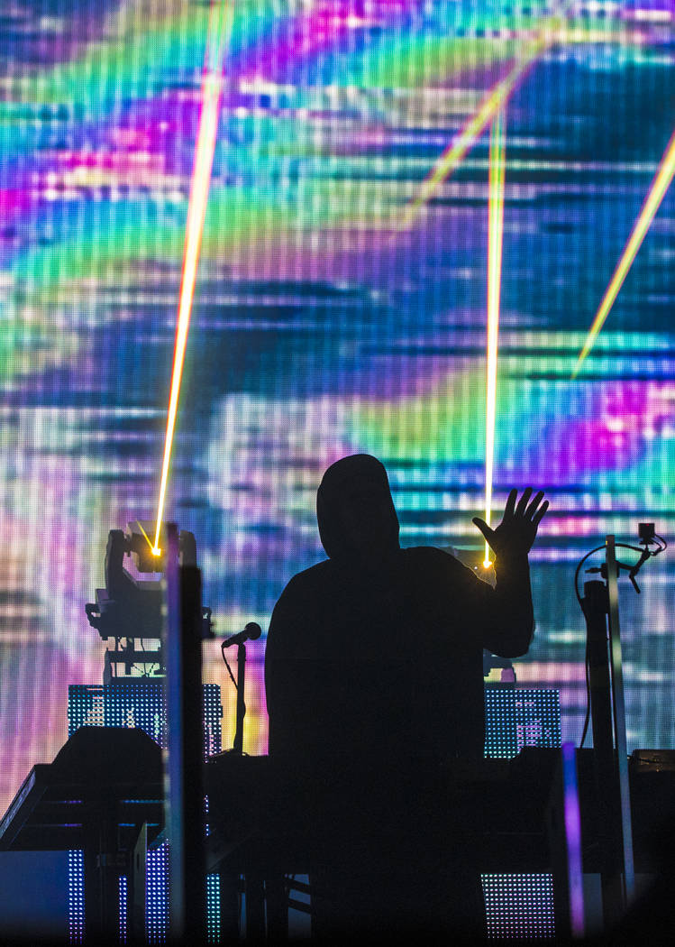 Derek Vincent Smith, of Pretty Lights, waves to the crowd on the Fremont Stage during the final day of the Life is Beautiful music and arts festival on Sunday, September 24, 2017, in Las Vegas. Be ...