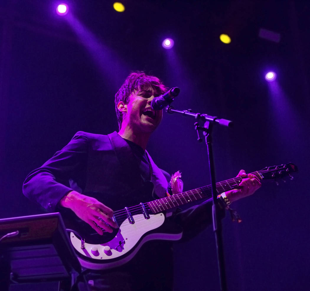 MGMT frontman Andrew VanWyngarden performs on the Ambassador Stage during the final day of the Life is Beautiful music and arts festival on Sunday, September 24, 2017, in Las Vegas. Benjamin Hager ...