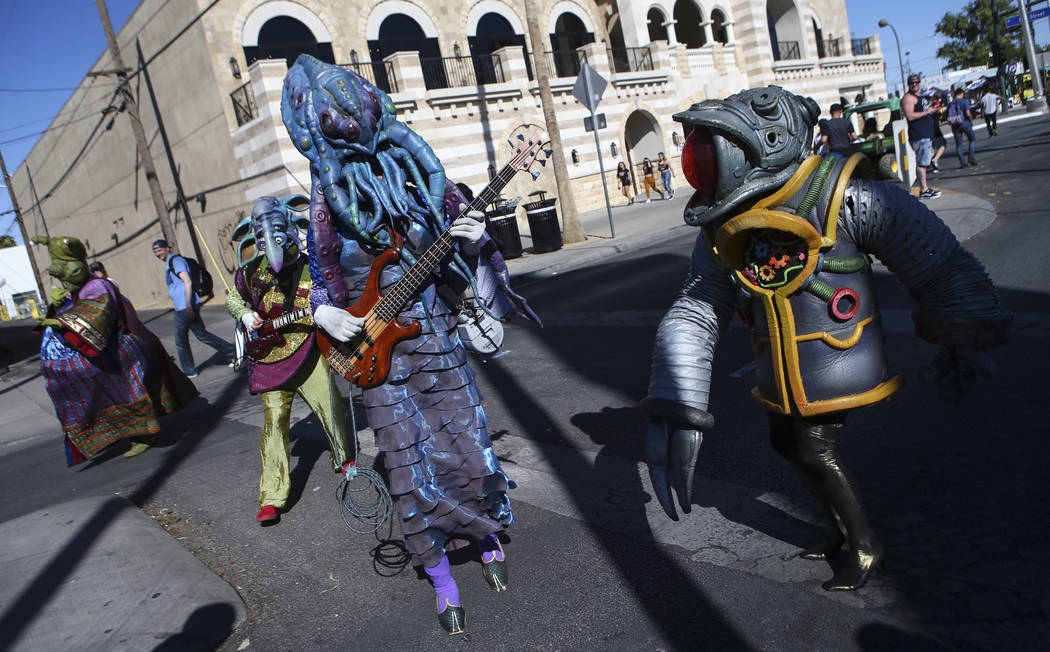 Members of performance art group Big Nazo entertain attendees during the final day of the Life is Beautiful festival in downtown Las Vegas on Sunday, Sept. 24, 2017. Chase Stevens Las Vegas Review ...