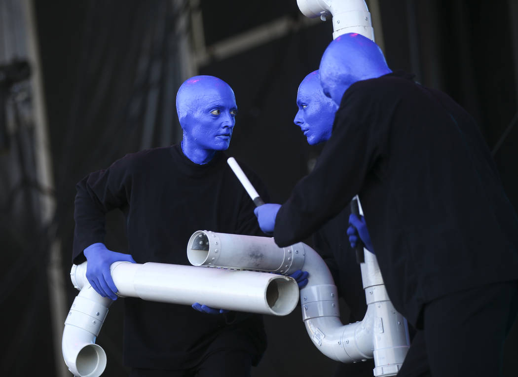 Blue Man Group make a surprise appearance at the Downtown stage during the final day of the Life is Beautiful festival in downtown Las Vegas on Sunday, Sept. 24, 2017. Chase Stevens Las Vegas Revi ...