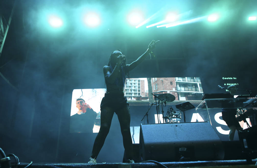 Bonzai performs with Mura Masa at the Ambassador stage during the final day of the Life is Beautiful festival in downtown Las Vegas on Sunday, Sept. 24, 2017. Chase Stevens Las Vegas Review-Journa ...