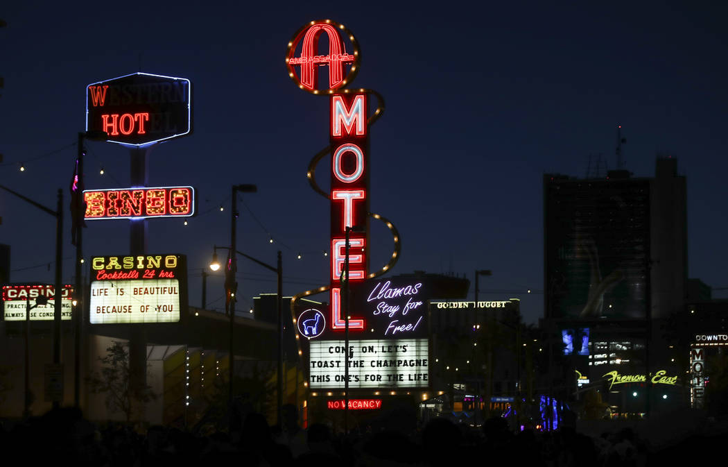 Neon signs light up during the final day of the Life is Beautiful festival in downtown Las Vegas on Sunday, Sept. 24, 2017. Chase Stevens Las Vegas Review-Journal @csstevensphoto