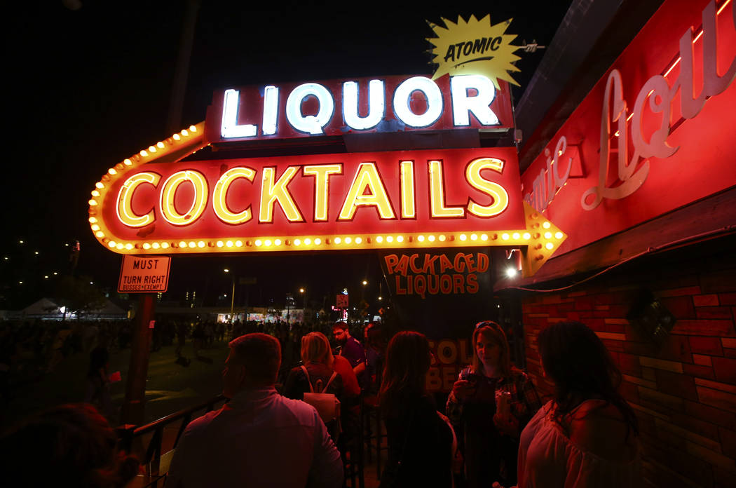 Attendees relax at Atomic Liquors during the final day of the Life is Beautiful festival in downtown Las Vegas on Sunday, Sept. 24, 2017. Chase Stevens Las Vegas Review-Journal @csstevensphoto