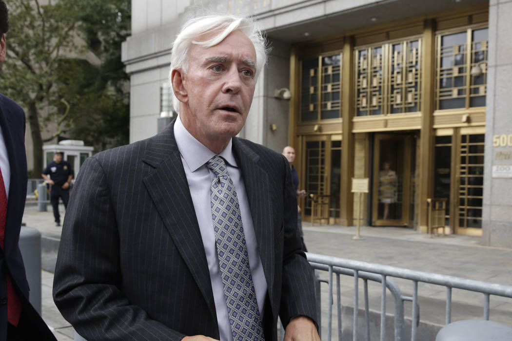 "Las Vegas gambler William ""Billy"" Walters leaves Manhattan federal court, in New York, Thursday, July 27, 2017. (AP Photo/Richard Drew)"