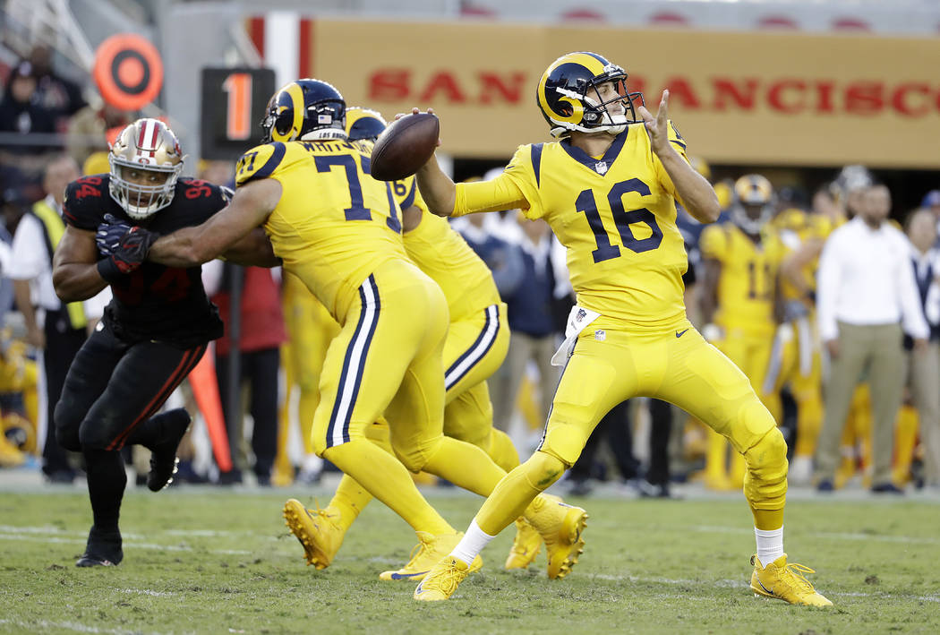 Los Angeles Rams quarterback Jared Goff (16) passes against the San Francisco 49ers during the first half of an NFL football game in Santa Clara, Calif., Thursday, Sept. 21, 2017. (AP Photo/Marcio ...