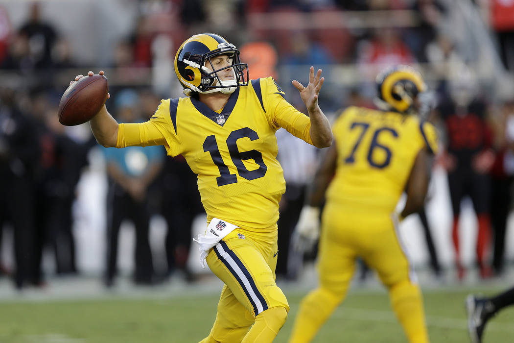 Los Angeles Rams quarterback Jared Goff (16) passes against the San Francisco 49ers during the first half of an NFL football game in Santa Clara, Calif., Thursday, Sept. 21, 2017. (AP Photo/Ben Ma ...
