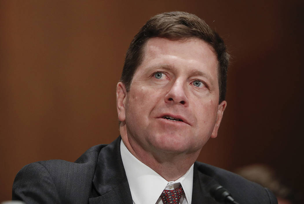SEC Chairman nominee Jay Clayton testifies on Capitol Hill in Washington in March. (AP Photo/Pablo Martinez Monsivais, File)