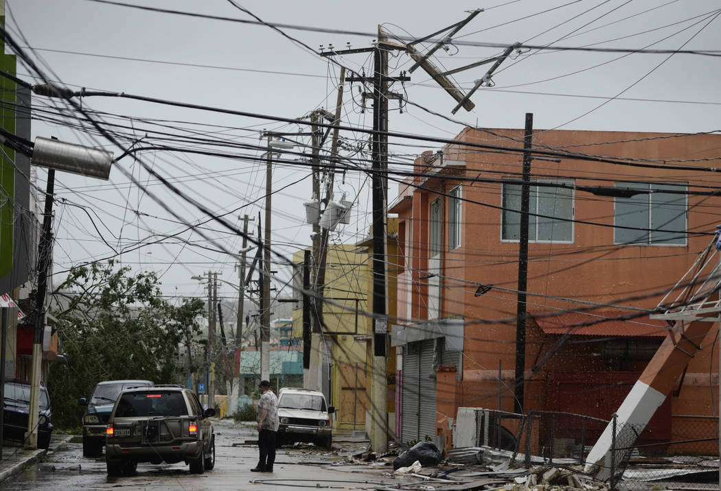 Power lines are down after the impact of Hurricane Maria, which hit the eastern region of the island in Humacao, Puerto Rico, Wednesday, Sept. 20, 2017.(Carlos Giusti/AP)