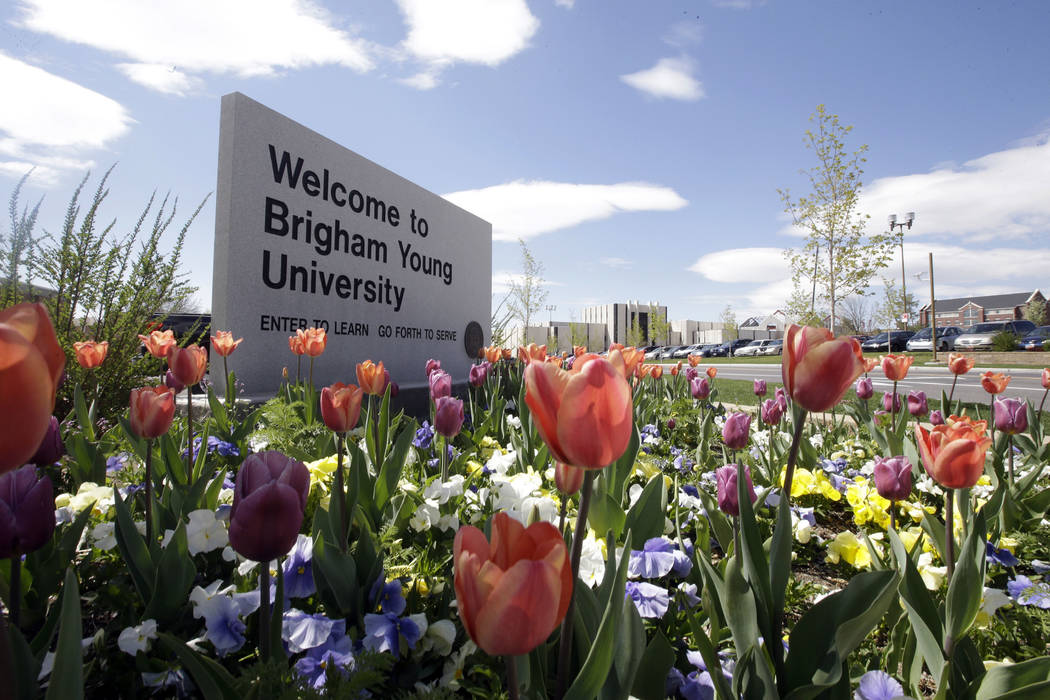 A welcome sign to Brigham Young University in Provo, Utah on April 19, 2016. (Rick Bowmer/AP)