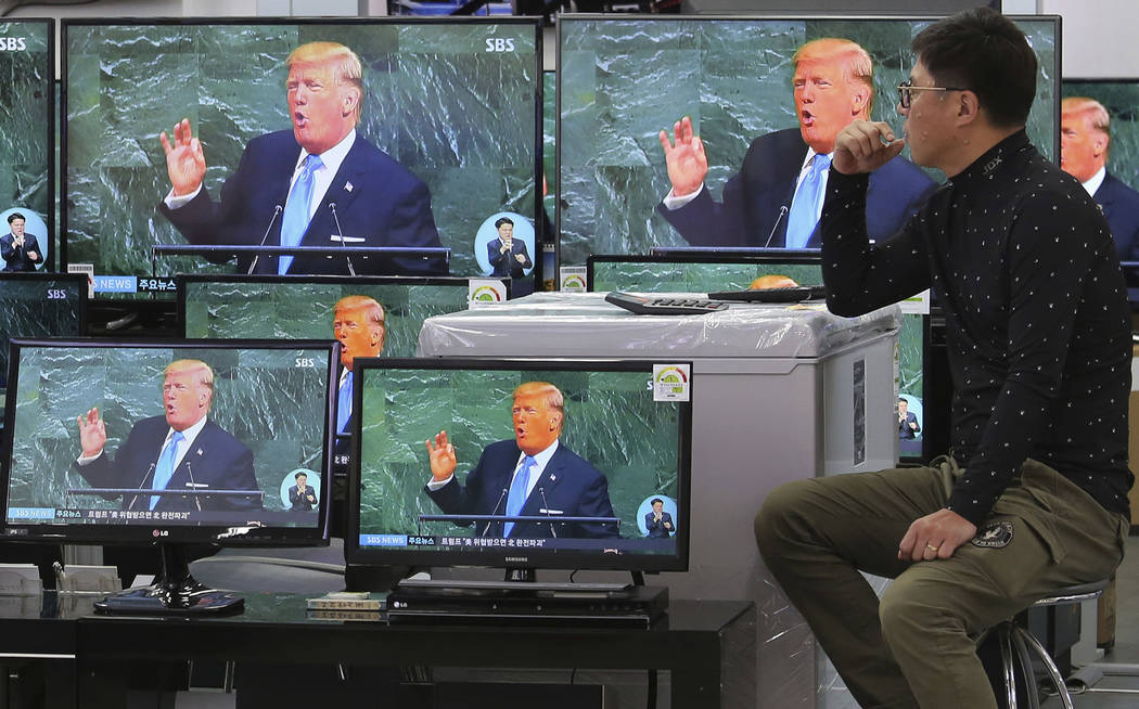 Television screens show a news program with an image of U.S. President Donald Trump during his address at the U.N. General Assembly, at the Yongsan Electronic Market in Seoul, South Korea, Wednesd ...