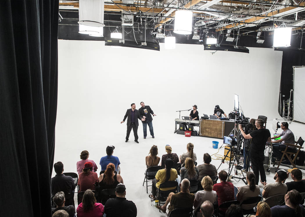 "Matt Donnelly, left,  and Paul Mattingly entertain the crowd  during filming of ""The Bucket Show"" on Wednesday, September 20, 2017, at OogOog Studio, in Las Vegas. Benjamin Hager ..."