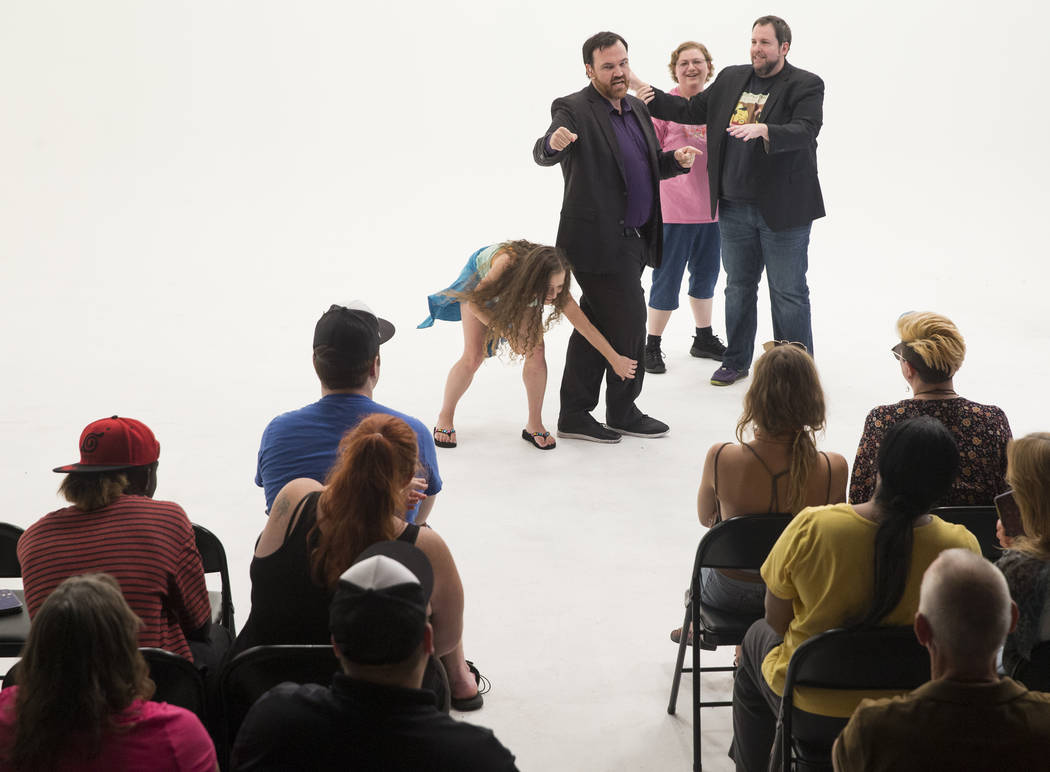 "Matt Donnelly, left, and Paul Mattingly act out a skit with audience members during filming of ""The Bucket Show"" on Wednesday, September 20, 2017, at OogOog Studio, in Las Vegas. ..."