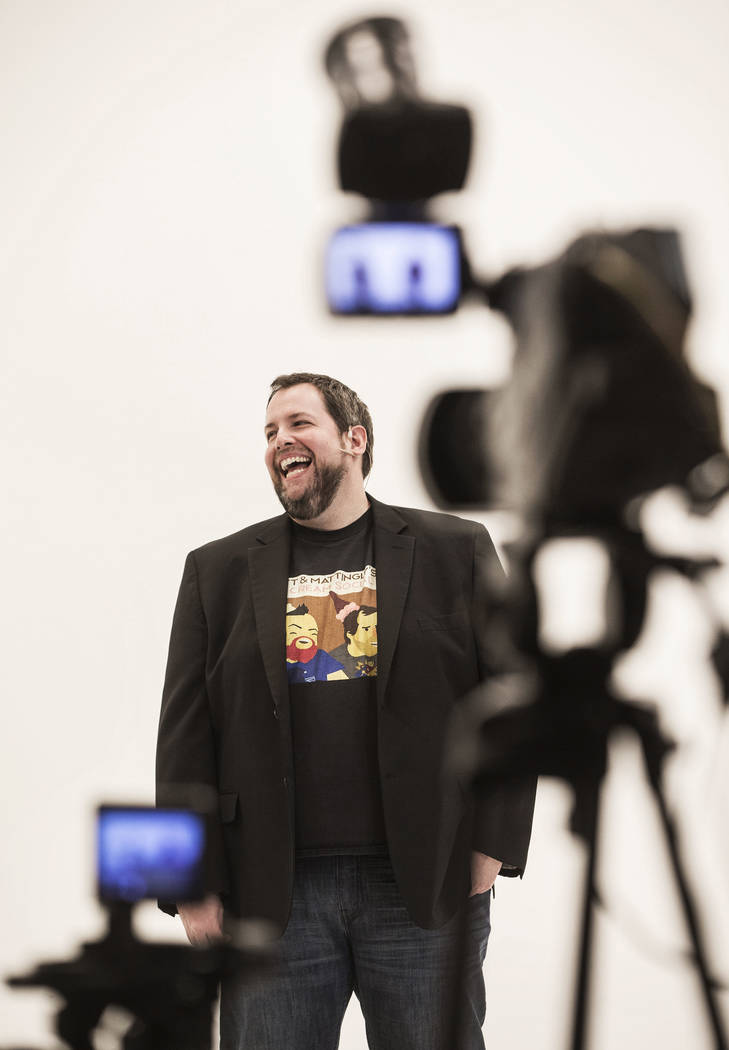 "Paul Mattingly shares a laugh with the audience during filming of ""The Bucket Show"" on Wednesday, September 20, 2017, at OogOog Studio, in Las Vegas. Benjamin Hager Las Vegas Rev ..."