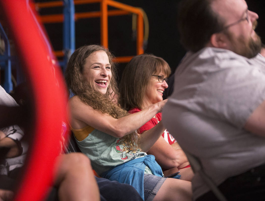 "Audience member Sara Jo Dustan, left, laughs during a skit on ""The Bucket Show"" on Wednesday, September 20, 2017, at OogOog Studio, in Las Vegas. Benjamin Hager Las Vegas Review- ..."