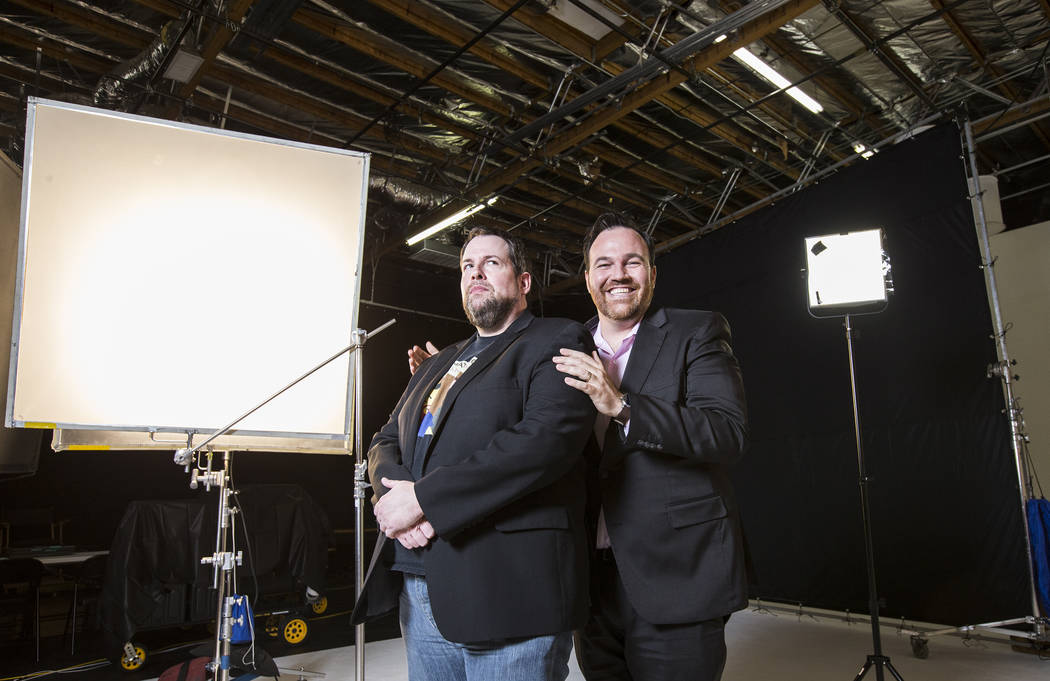 """The Bucket Show"" hosts Paul Mattingly, left, and Matt Donnelly on Wednesday, August 30, 2017, at OogOog Studio, in Las Vegas. Benjamin Hager Las Vegas Review-Journal @benjaminhphoto"