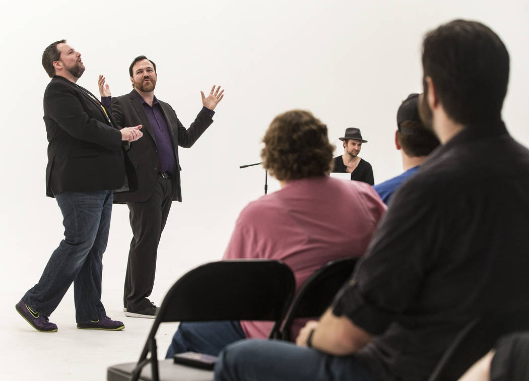 "Paul Mattingly, left, and Matt Donnelly entertain the crowd during filming of ""The Bucket Show"" on Wednesday, September 20, 2017, at OogOog Studio, in Las Vegas. Benjamin Hager L ..."