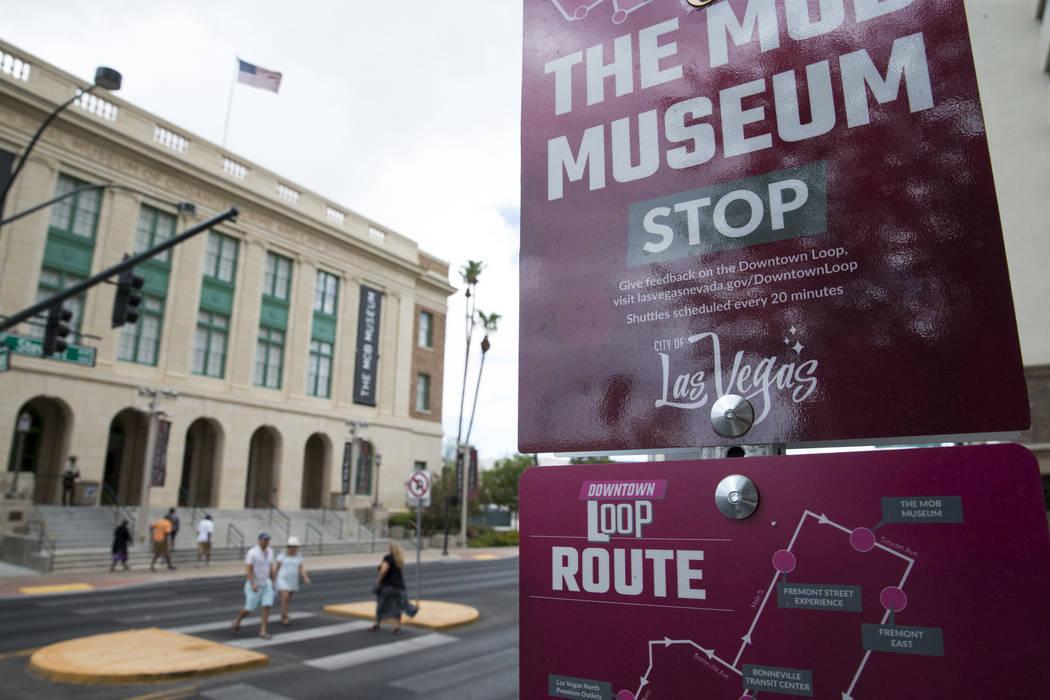 A Downtown Loop shuttle stop in front of the Mob Museum in Las Vegas on Friday, Aug. 11, 2017. Erik Verduzco Las Vegas Review-Journal @Erik_Verduzco