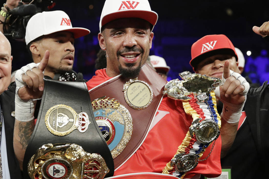 Andre Ward celebrates after defeating Sergey Kovalev in a light heavyweight championship boxing match in Las Vegas on  June 17, 2017.  Ward is retiring from boxing with an undefeated record becaus ...