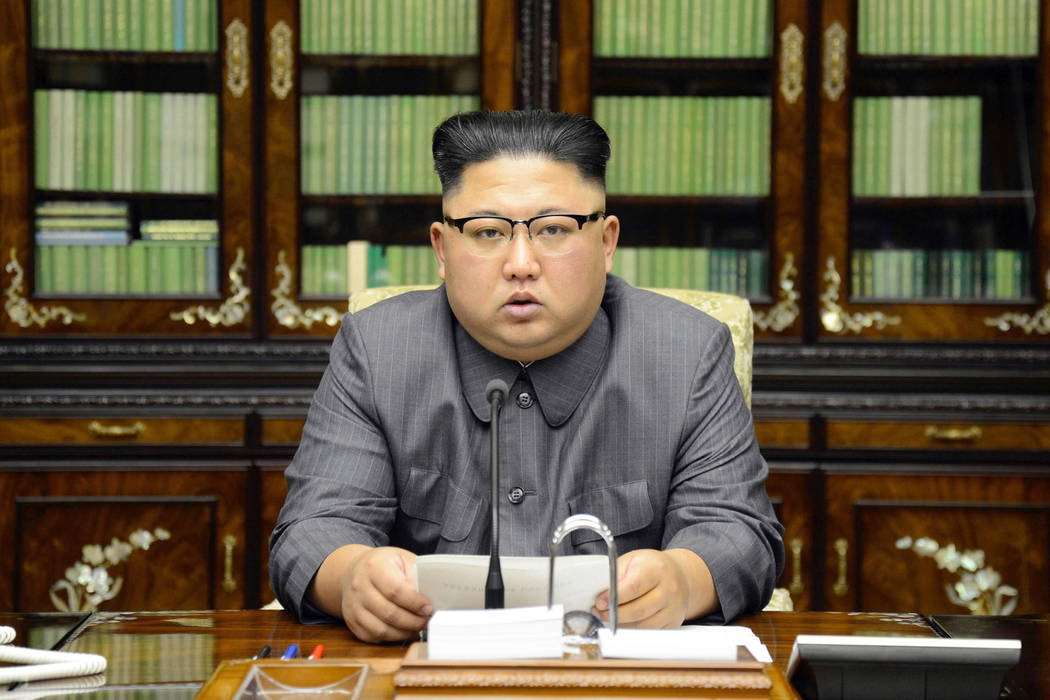 North Korean leader Kim Jong Un delivers a statement in response to U.S. President Donald Trump's speech to the United Nations, in Pyongyang, North Korea. (Korean Central News Agency/Korea News Se ...