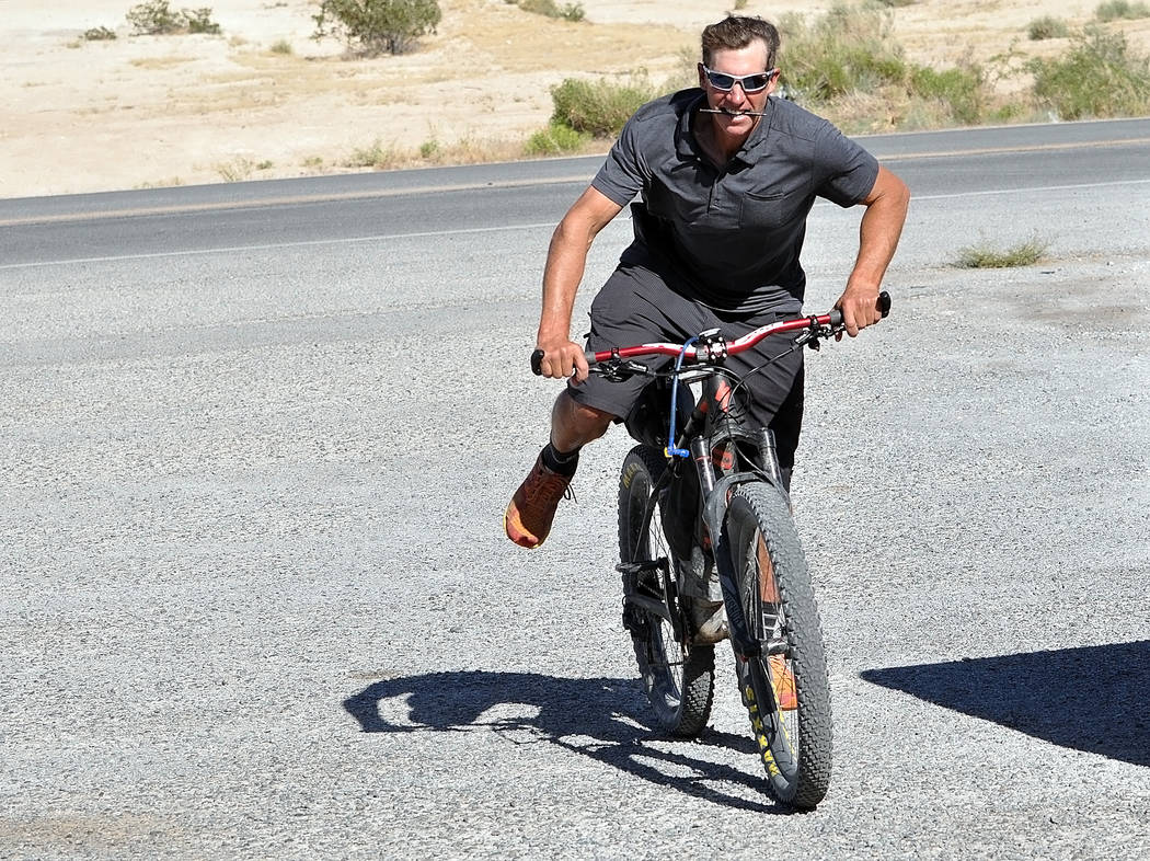 Horace Langford Jr./Pahrump Valley Times  Jared Fisher, a Republican candidate for Nevada governor's seat, recently biked through Pahrump as part of his statewide tour. Pahrump was one of the last ...