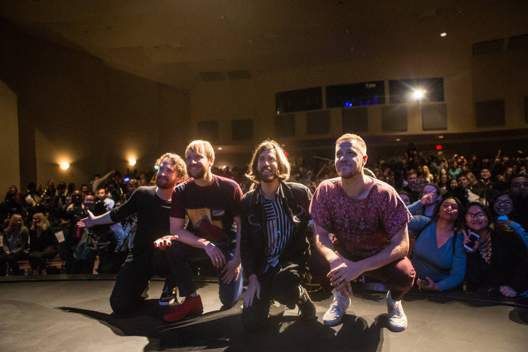 Imagine Dragons takes a group photo with concert attendees behind them at Clark High School on Thursday, Sept. 21, 2017, in Las Vegas. Morgan Lieberman Las Vegas Review-Journal