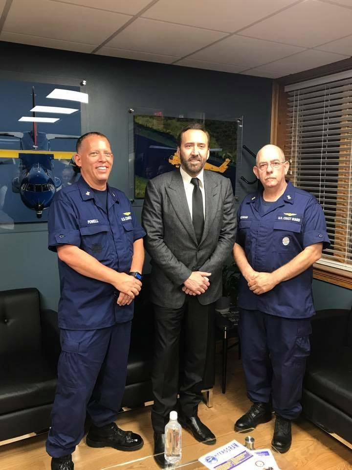 Our local resident, actor Nicolas Cage visited the U.S. Coast Guard Aviation Training Center and personally thanked the brave men and women for their hurricane Irma and Maria response efforts. (Co ...