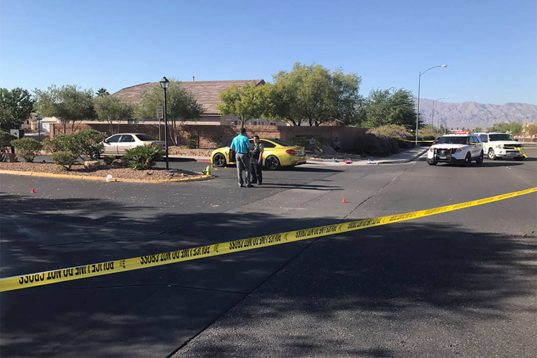 North Las Vegas Police Department investigates a shooting near Colton Avenue and Revere Street, near West Cheyenne Avenue, on Wednesday. (North Las Vegas Police Department/Twitter)