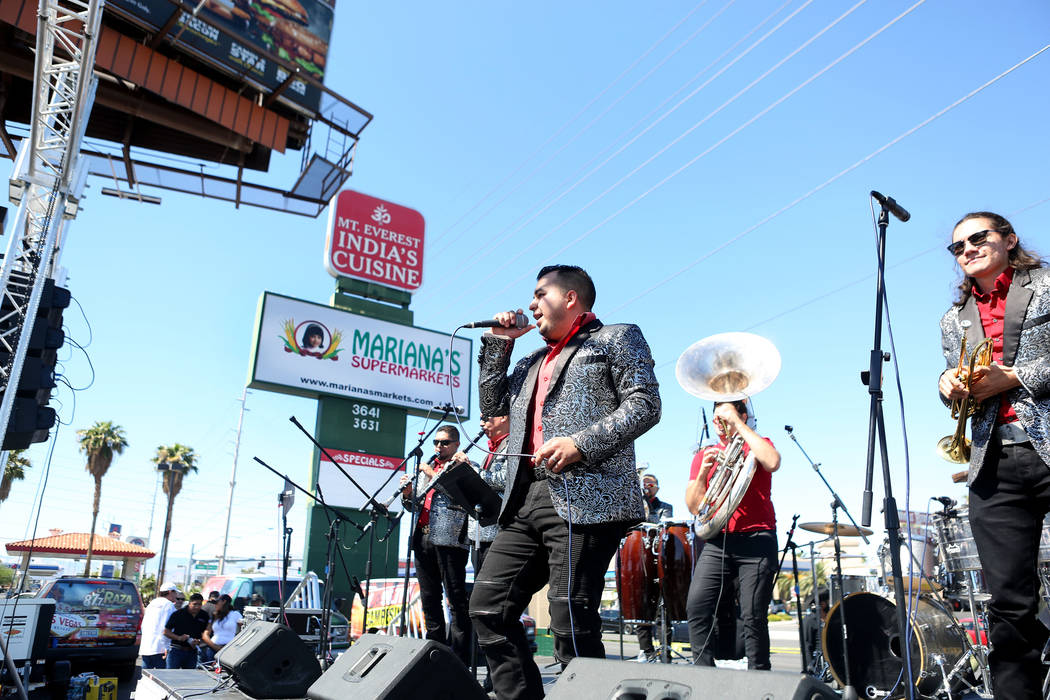 Banda Corralejo preforms during a Marianaճ Charity Foundation benefit for earthquake victims in Mexico supported by the Latin Chamber of Commerce at Mariana's Supermarket on West Sahara Aven ...