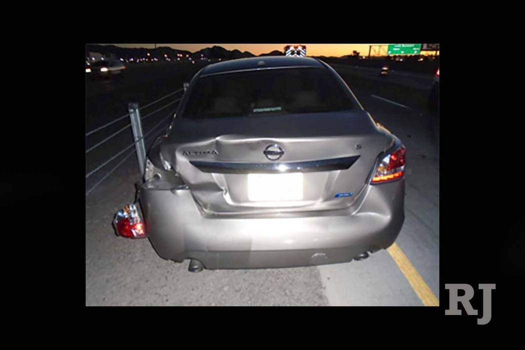 One of the vehicles involved in a multivehicle crash on Interstate 15 near Lamb Boulevard, caused by a wrong-way driver, Friday, Sept. 22, 2017. (Nevada Highway Patrol)