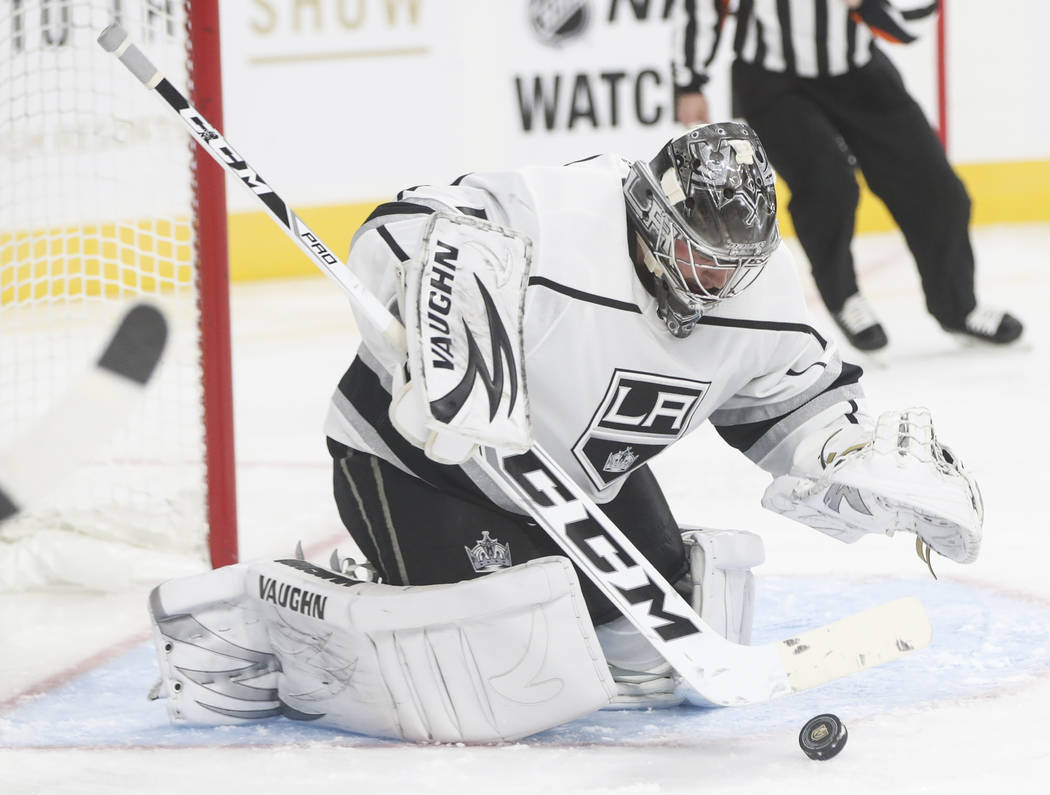 Los Angeles Kings goalie Jack Campbell makes a save during an NHL preseason hockey game against the Golden Knights at T-Mobile Arena in Las Vegas on Tuesday, Sept. 26, 2017. Chase Stevens Las Vega ...