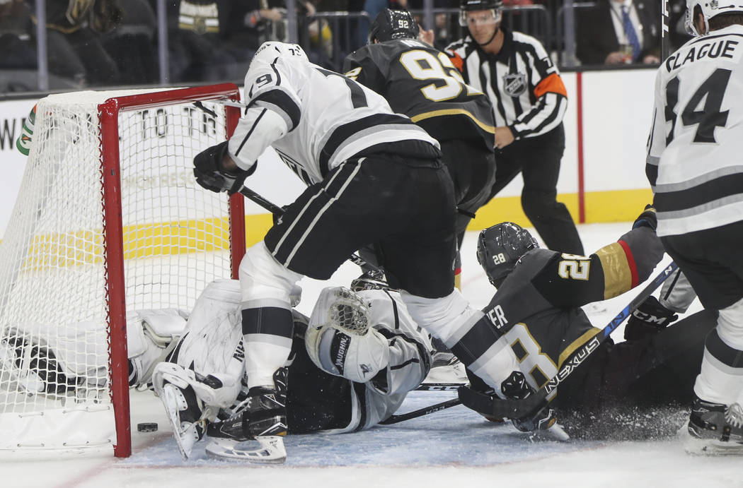 Golden Knights' William Carrier (28) scores a goal against the Los Angeles Kings during an NHL preseason hockey game at T-Mobile Arena in Las Vegas on Tuesday, Sept. 26, 2017. The Kings won 3-2 in ...