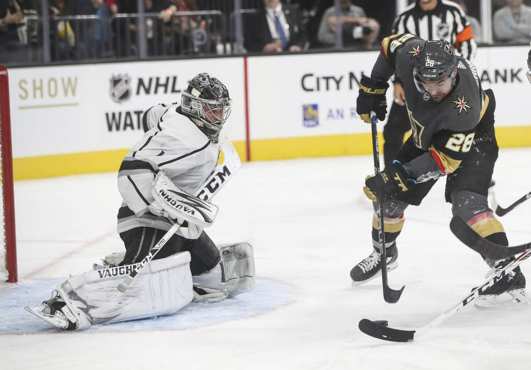 Golden Knights' William Carrier (28) prepares to score a goal against the Los Angeles Kings during an NHL preseason hockey game at T-Mobile Arena in Las Vegas on Tuesday, Sept. 26, 2017. The Kings ...