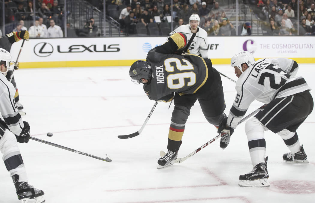 Golden Knights' Tomas Nosek (92) goes for a shot against the Los Angeles Kings during an NHL preseason hockey game at T-Mobile Arena in Las Vegas on Tuesday, Sept. 26, 2017. The Kings won 3-2 in o ...