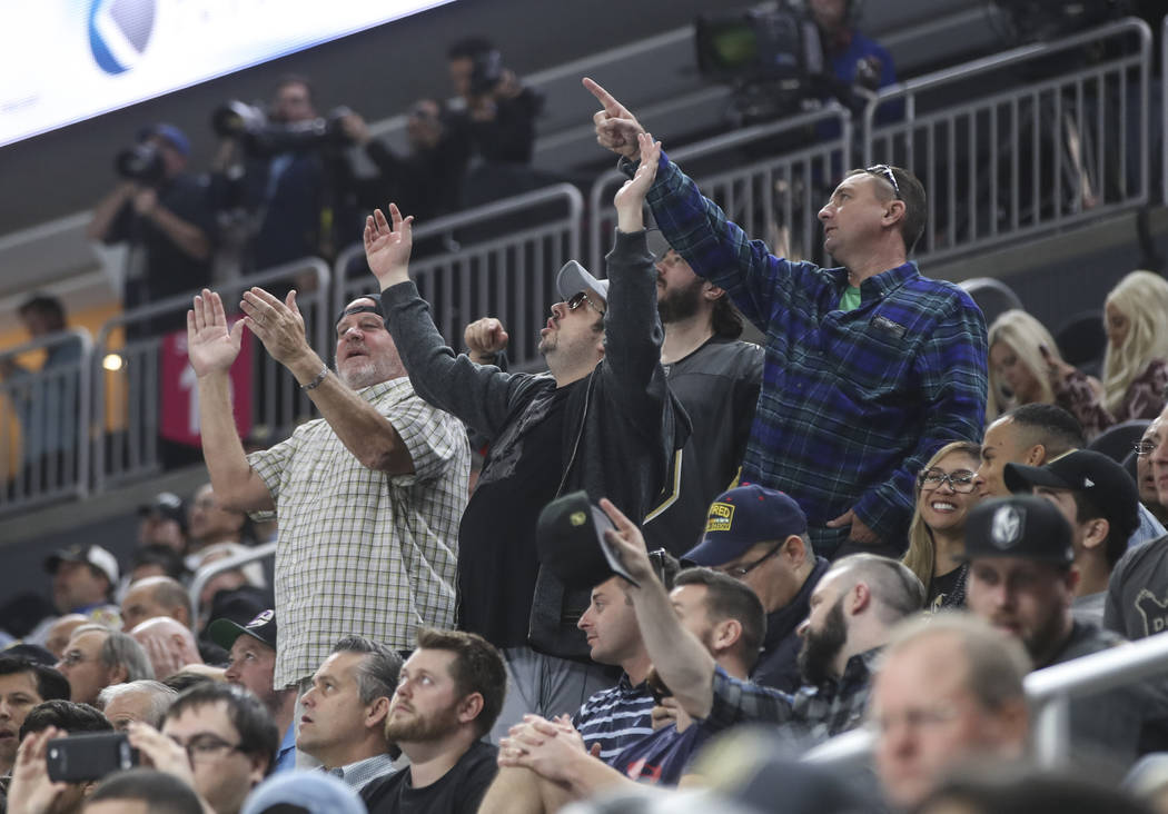 Golden Knights fans react during an NHL preseason hockey game against the Los Angeles Kings at T-Mobile Arena in Las Vegas on Tuesday, Sept. 26, 2017. The Kings won 3-2 in overtime. Chase Stevens  ...