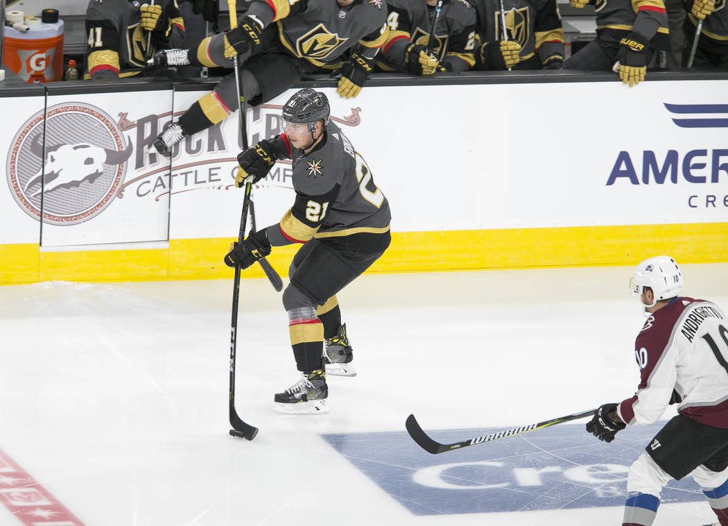 Vegas Golden Knights center Cody Eakin (21) passes the puck during the first period of a preseason NHL hockey game between the Vegas Golden Knights and the Colorado Avalanche on Thursday, Sept. 28 ...