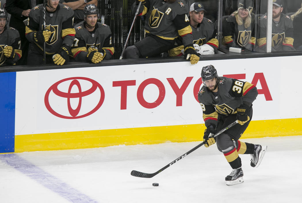 Vegas Golden Knights left wing Tomas Hyka (38) looks for a pass during the first period of a preseason NHL hockey game between the Vegas Golden Knights and the Colorado Avalanche on Thursday, Sept ...