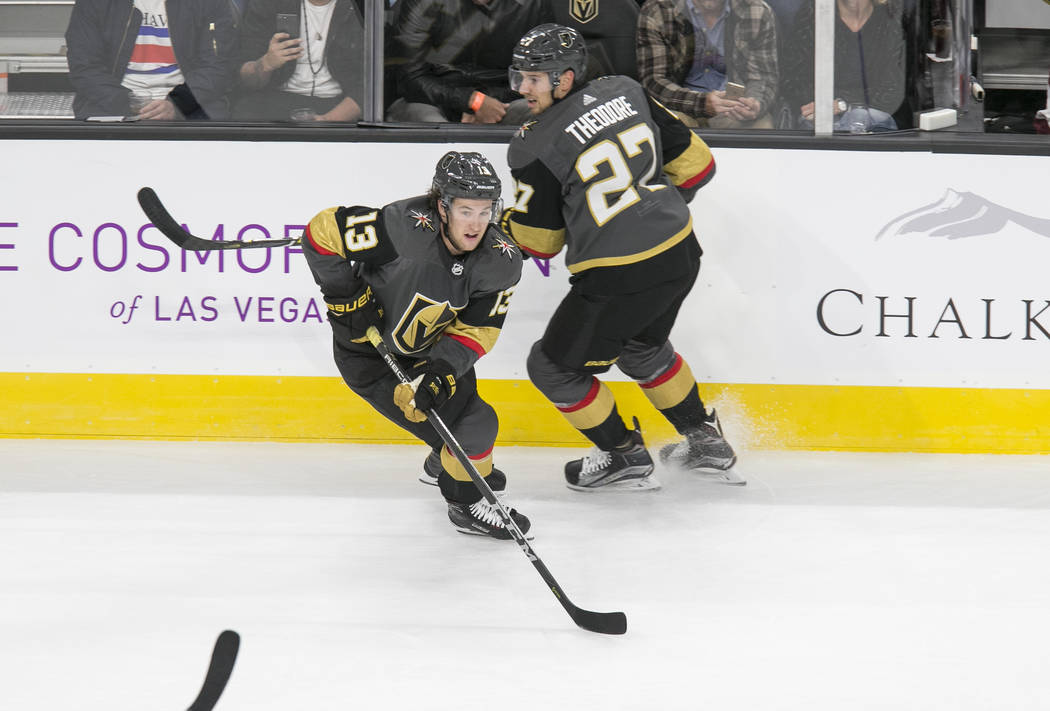 Vegas Golden Knights left wing Brendan Leipsic (13) and defenseman Shea Theodore (27) on the ice during the first period of a preseason NHL hockey game between the Vegas Golden Knights and the Col ...