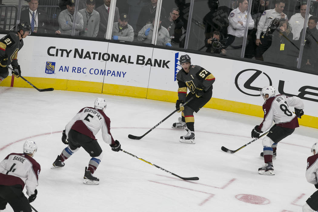 Vegas Golden Knights left wing David Perron (57) looks for a play during the first period of a preseason NHL hockey game between the Vegas Golden Knights and the Colorado Avalanche on Thursday, Se ...