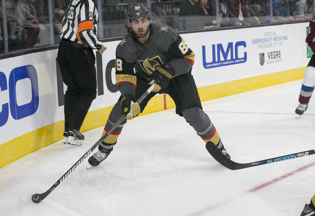 Vegas Golden Knights right wing Alex Tuch (89) looks for a pass during the second period of a preseason NHL hockey game between the Vegas Golden Knights and the Colorado Avalanche on Thursday, Sep ...