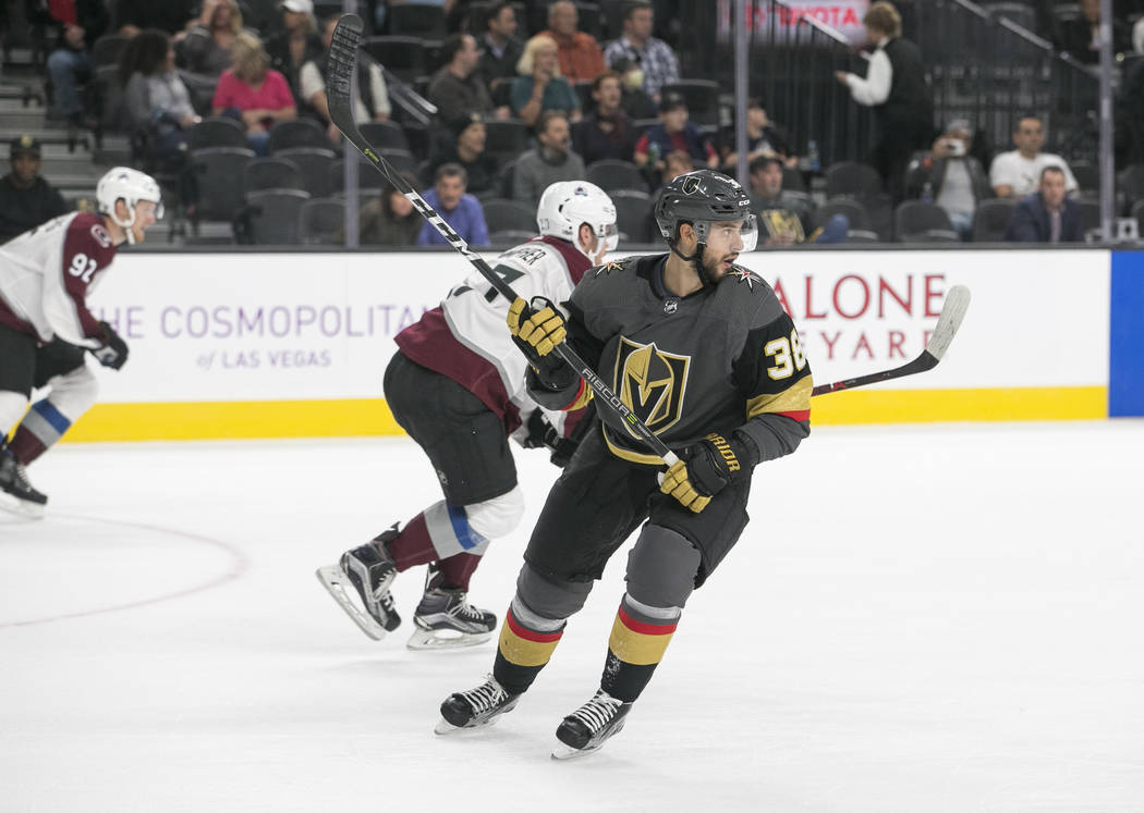 Vegas Golden Knights left wing Tomas Hyka (38) on the ice during the second period of a preseason NHL hockey game between the Vegas Golden Knights and the Colorado Avalanche on Thursday, Sept. 28, ...
