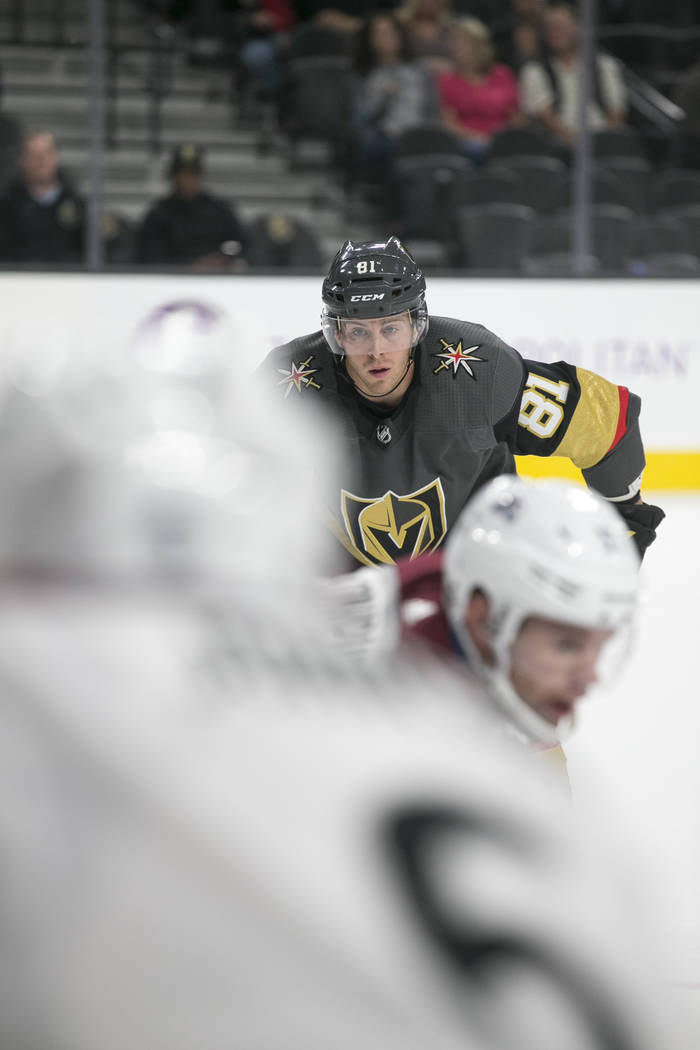 Vegas Golden Knights center Jonathan Marchessault (81) on the ice during the second period of a preseason NHL hockey game between the Vegas Golden Knights and the Colorado Avalanche on Thursday, S ...