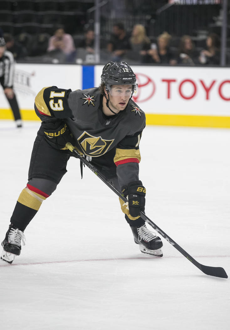 Vegas Golden Knights left wing Brendan Leipsic (13) one the ice during the third period of a preseason NHL hockey game between the Vegas Golden Knights and the Colorado Avalanche on Thursday, Sept ...