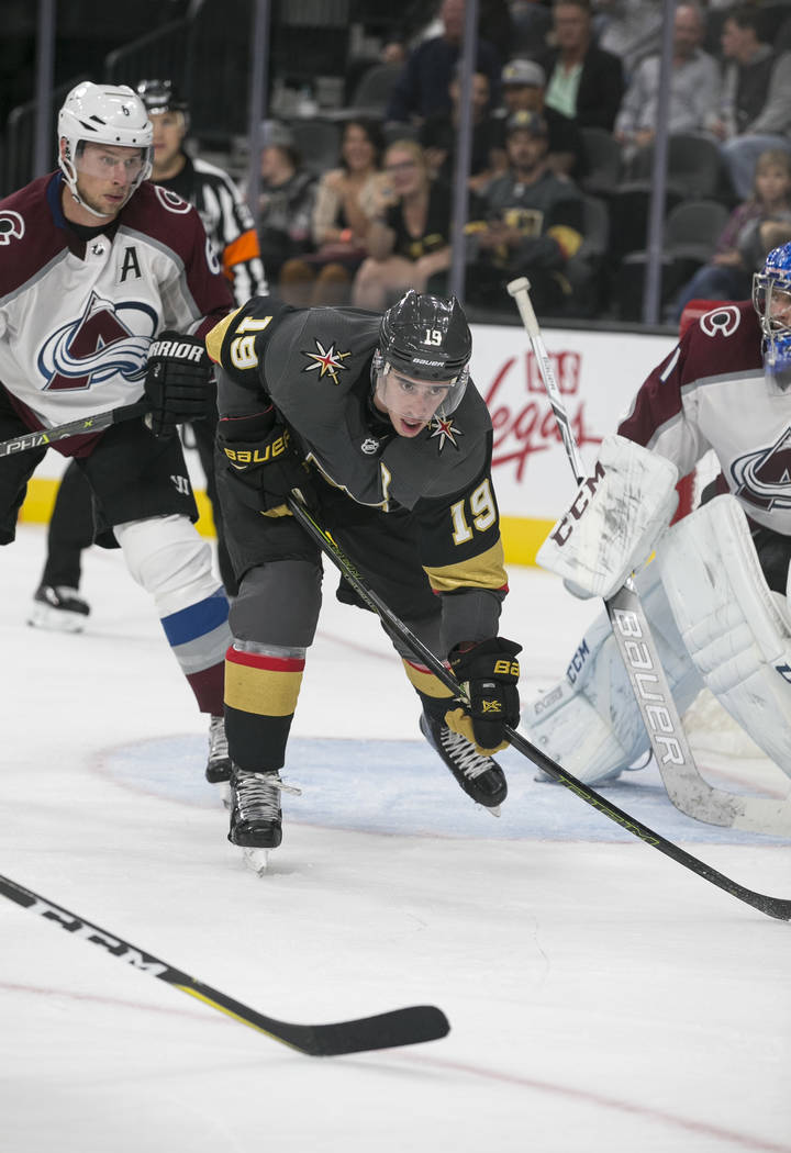 Vegas Golden Knights right wing Reilly Smith (19) follows the puck during the third period of a preseason NHL hockey game between the Vegas Golden Knights and the Colorado Avalanche on Thursday, S ...