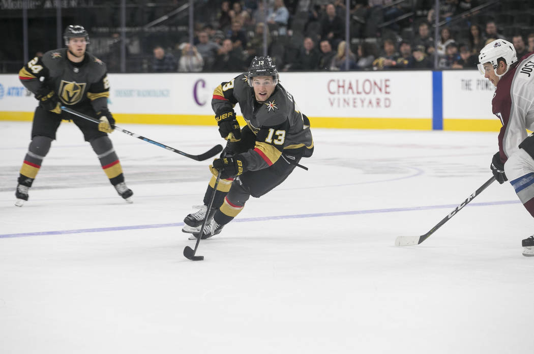Vegas Golden Knights left wing Brendan Leipsic (13) controls the puck during the third period of a preseason NHL hockey game between the Vegas Golden Knights and the Colorado Avalanche on Thursday ...