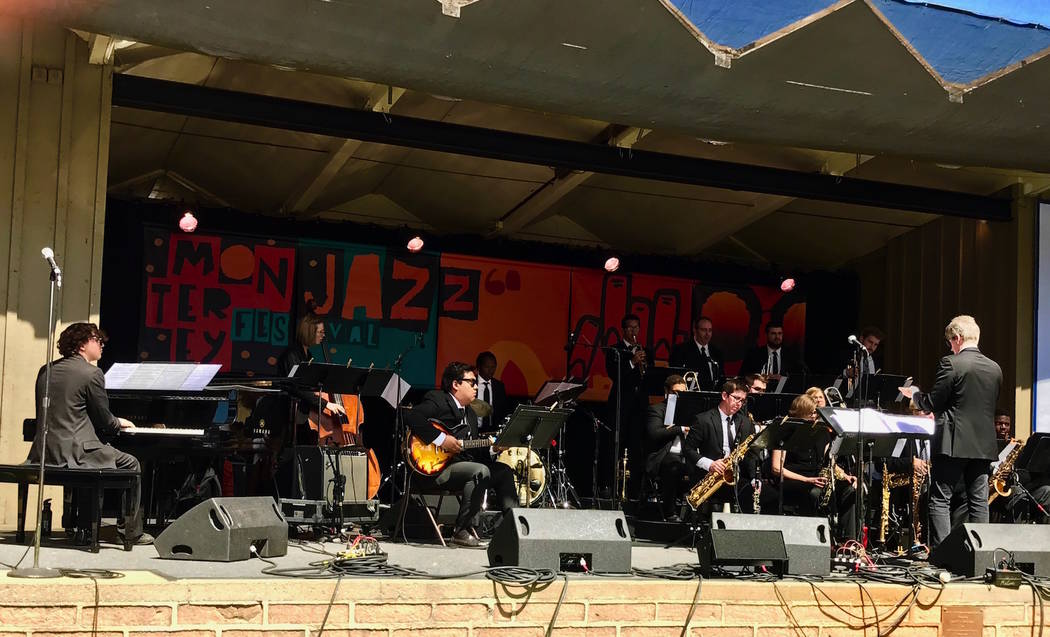 UNLV Jazz Ensemble 1 is shown at the Monterey Jazz Festival on Sept. 17, 2017. The members performing in the band's appearance: Jacob Hansen and Jennifer Little on alto sax; Micheal Spicer and Aus ...